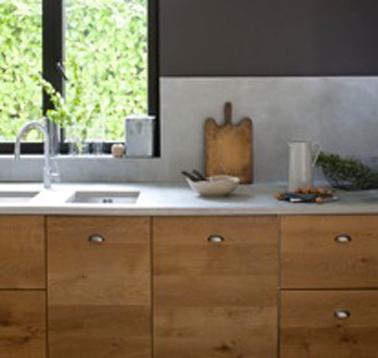 Peindre un plan de travail avec un effet pierre de lib ron - Cuisine grise plan de travail bois ...