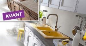 Dans la cuisine, une peinture pour repeindre les murs, les meubles et le carrelage, et voilà une cuisine refaite à neuf !