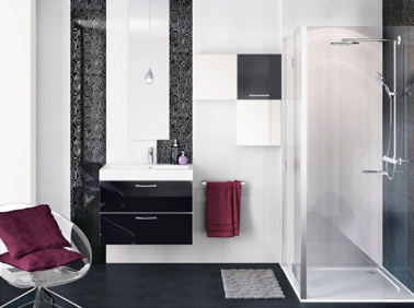 salle de bain noir et blanc meuble vasque mobalpa. Black Bedroom Furniture Sets. Home Design Ideas