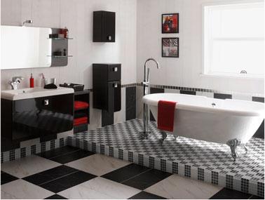 Salle de bain noir et blanc c 39 est la tendance d co deco cool - Carrelage damier noir et blanc salle de bain ...
