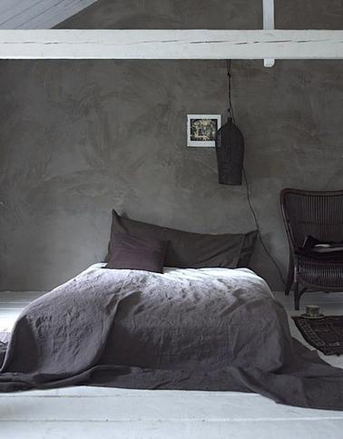Chambre taupe lit couleur chocolat et parme - Linge de lit chocolat ...