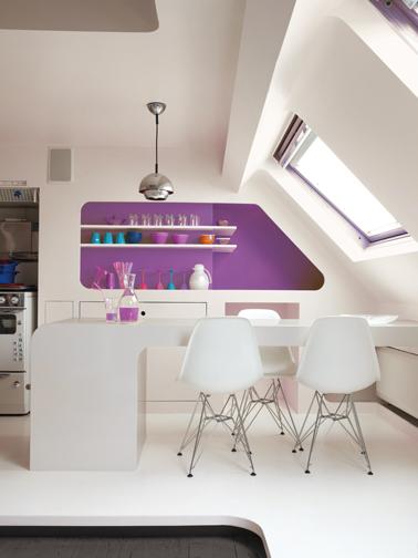 Couleur cuisine peinture blanc prune et taupe astral for Cuisine blanche mur taupe