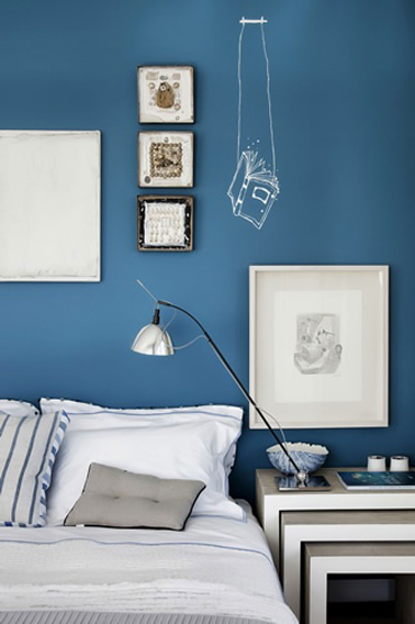 chambre bleu gris peinture bleu cyclade. Black Bedroom Furniture Sets. Home Design Ideas