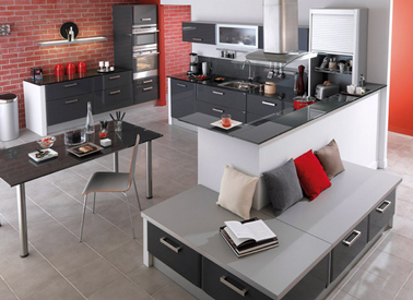 cuisine rouge et gris anthracite lapeyre mur briques rouge. Black Bedroom Furniture Sets. Home Design Ideas