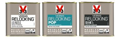 3 gammes couleurs pour peindre un meuble avec Vernis Relooking V33 aspect satin vendu en pot de 0.5 et 1 litre