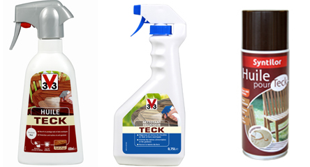 Spray huile de teck V33 400ml. Centre, dégriseur pour teck V33 pour nettoyer taches de graisse et redonner au bois sa couleur d'origine. A droite aérosol huile teck Syntilor capacité 400 ml