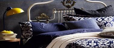 Idée décoration avec du bleu dans une chambre adulte