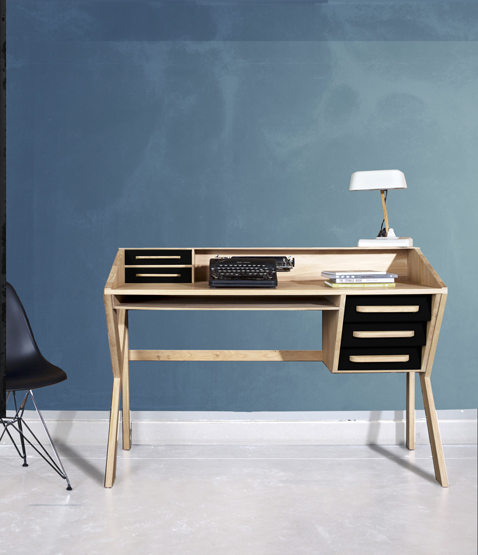 meuble bureau vintage structure bois tiroir noir mr marius. Black Bedroom Furniture Sets. Home Design Ideas