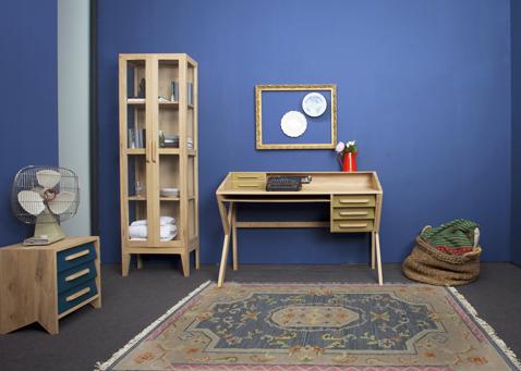 Bureau aménagé avec meuble vintage Mr Marius :  bibliotheque, bureau et commode bois naturel