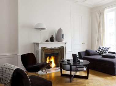 D coration salon avec fauteuil blanc for Peinture couleur lin salon