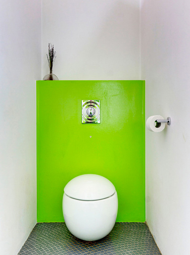 Peinture wc blanc et vert flashy pour d co toilettes design for Photos de toilettes design