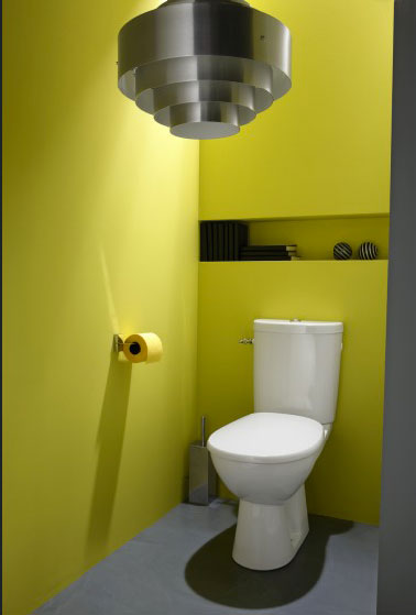 D co toilettes jaune et gris for Deco wc bleu