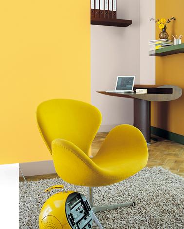 Un salon avec une peinture jaune associée à un gris perle pour peindre les boiseries et éventuellement un pan de mur compense le manque de lumière dans le salon