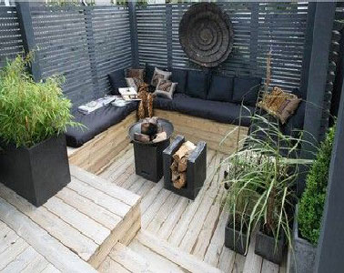 terrasse zen en bois et noir pour le coin salon de jardin. Black Bedroom Furniture Sets. Home Design Ideas