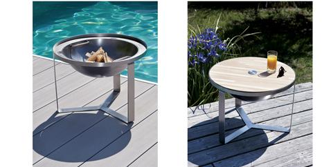 Brasero inox rond avec couvercle bois pour se transformer en table basse Près de la piscine ! Diam 60 cm H.44 cm Happinox