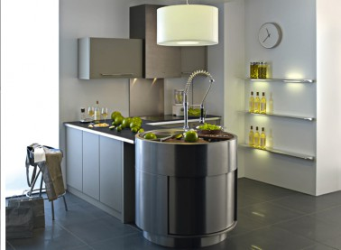 Cuisine Amenagee Couleur Taupe Et Gris Anthracite Darty