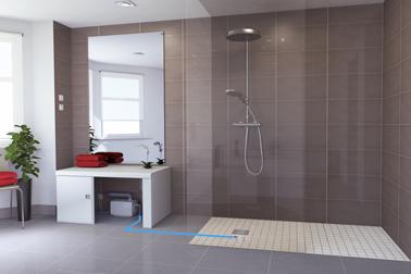 Installer une douche italienne dans tout type de salle de bain avec le système Sanifloor SFA sans travaux. S'adapte à tous les types d'évacuation des eaux