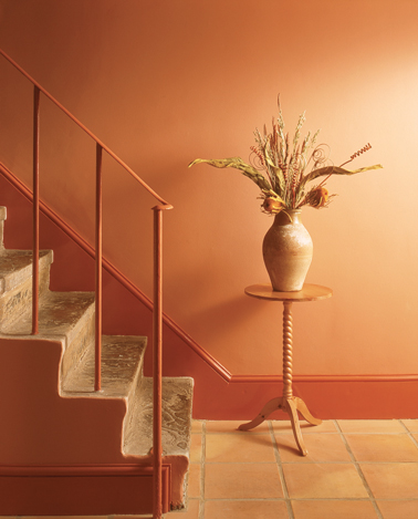 Déco escaliers peinture murale orange base acrylique, pour les boiseries, un ton de orange plus soutenu de la gamme peinture laque glycéro astral