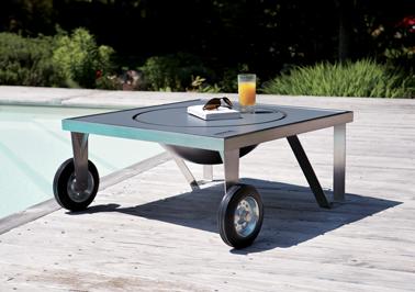 Petite, compacte, la table brasero en inox qui se déplace facilement grâce à ses roulettes. Modèle Zenzo, Dim : 78 x 78 x 37 cm Happinox