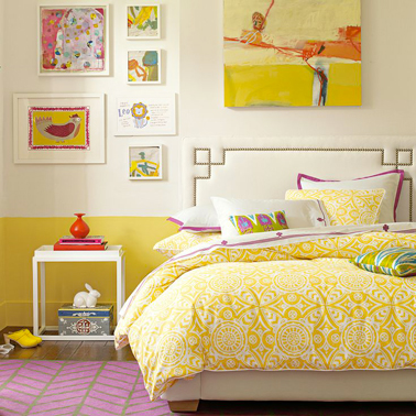peinture chambre fille jaune sur soubassement mur cru. Black Bedroom Furniture Sets. Home Design Ideas