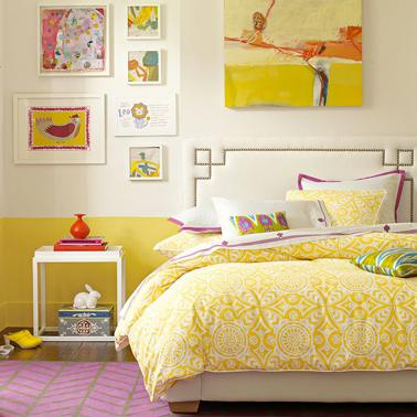 Peinture chambre fille jaune sur soubassement mur cru - Peinture design sur mur ...