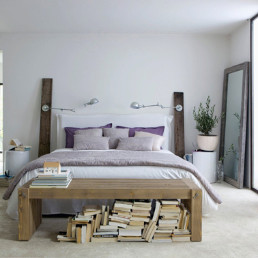 d co chambre avec t te de lit en bois esprit r cup. Black Bedroom Furniture Sets. Home Design Ideas