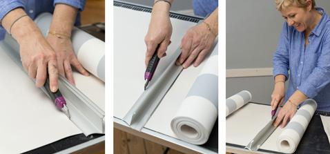 Découpez le papier peint aux dimensions du soubassement à l'aide d'un cutter