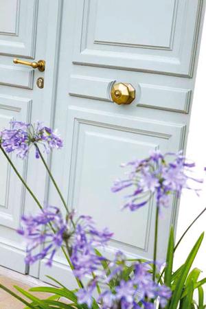 Peinture bois ext rieur aqua stop v33 sur porte entr e maison - Peindre une porte d entree en bois ...