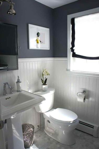 salle de bain grise soubassement lambris peinture blanche - Lambris Pour Salle De Bain