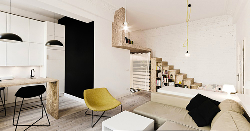Id e am nagement studio 30m2 for Amenagement salon avec escalier