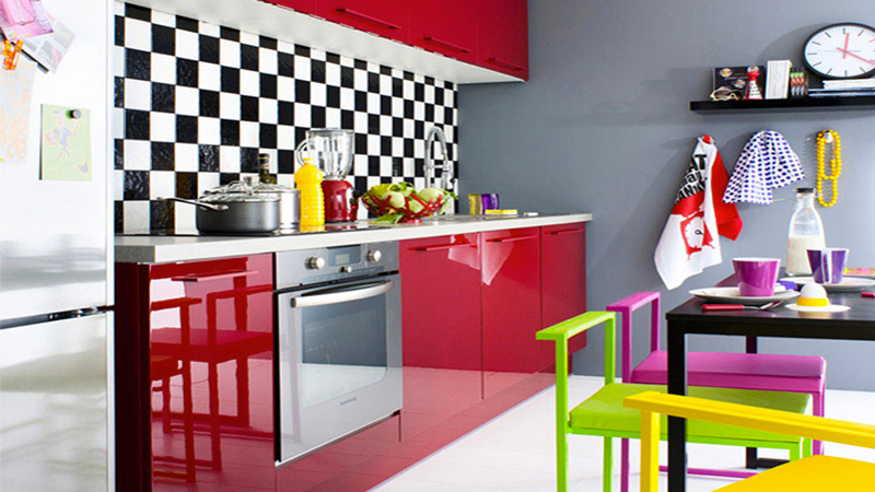 cuisine fly rouge en promo facade melamine vernis haute brillance. Black Bedroom Furniture Sets. Home Design Ideas