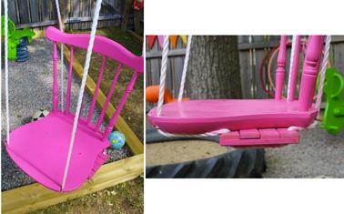 Une balançoire pour jeunes enfants sécurisée avec une chaise de récup fixée sur la planche de la balançoire. Un coup de peinture rose fushia et bébé peut se balancer en toute sécurité
