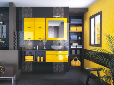 Peinture salle de bain et couleurs pop on aime d co cool - Peinture jaune et gris ...