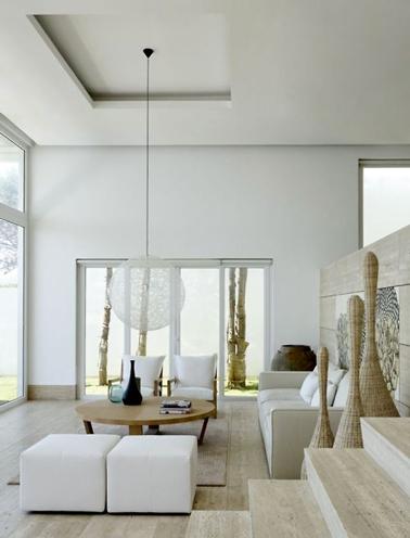 Couleur lin dans salon design du sol au plafond - Couleur design pour salon ...