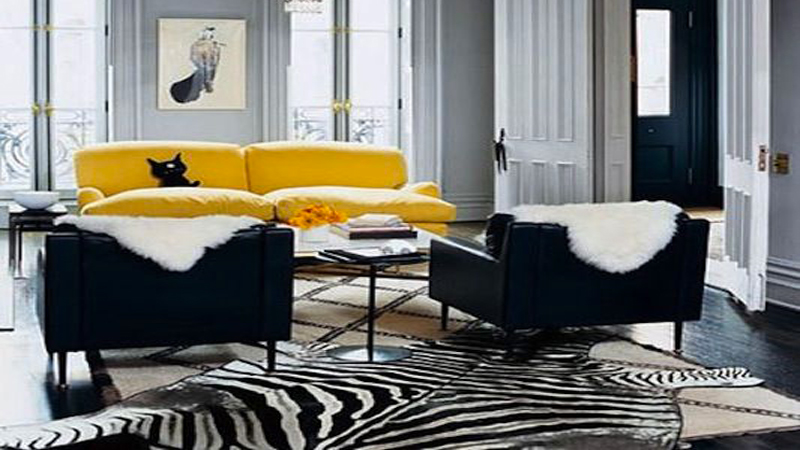 deco salon gris canape cuir jaune. Black Bedroom Furniture Sets. Home Design Ideas