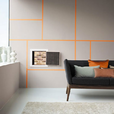 mur salon peinture gris et jeu graphique peinture orange. Black Bedroom Furniture Sets. Home Design Ideas