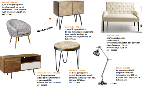 Enfilade TV basse, commode, fauteuil et accessoires déco style scandinave du nouveau catalogue Helline