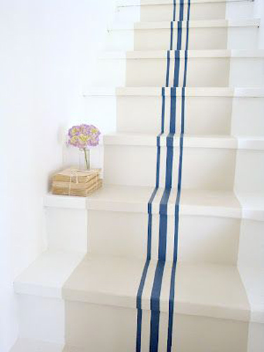 Peindre un escalier en bois couleur lin rayures bleu - Escalier beton peint ...