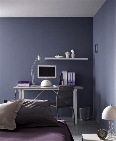 peinture violet dans chambre ado meuble m tal gris. Black Bedroom Furniture Sets. Home Design Ideas