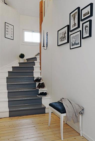 Repeindre escalier en 2 couleurs gris perle et gris anthracite - Escalier repeint en gris ...