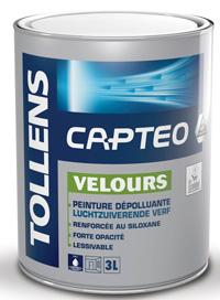 Pot de Captéo, la peinture depolluante de Tollens pour mur et plafond maison, bureau, école, crèche, etc. existe en 1l, 3L et 5L