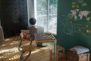Dans ma chambre j'ai le droit d'écrire sur les murs ! Peinture à tableau Gribouille vert  et Magnetik Maison Déco