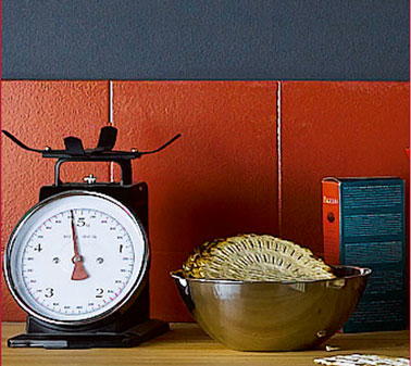 Repeindre le carrelage de sa cr dence cuisine en rouge - Credence rouge pour cuisine ...