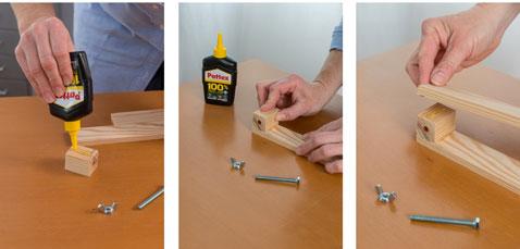Fabriquer ensuite le pied de la lampe de chevet en collant les différentes pièces de tasseau de bois et maintenez à l'aide du Power Tape