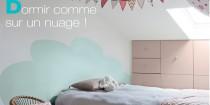 DIY pour peindre une tete de lit en forme de nuage sur le mur pour une chambre romantique