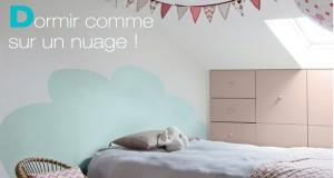 Tête de lit à peindre sur le mur pour rêver dans un nuage !
