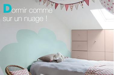 tete de lit a peindre sur le mur pour rever dans un nuage - Peinture Pour Chambre Romantique Rose Pale Et Vert Deau