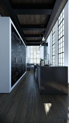 dans une cuisine en longueur d'un appartement moderne, face aux meubles en bois noir ébène, de la zone cuisson et lavage l'immense placard blanc et ses portes peintes avec une peinture à tableau noir profite de la luminosité apportée par la verrière