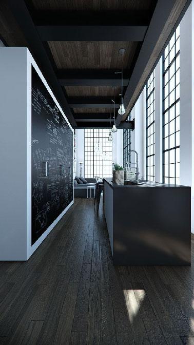 D co cuisine design avec grand placard noir et blanc for Grand placard salon