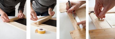 Fixez la baguette d'angle récupérée sur la cagette sur le bas du tableau pour créer un repose craies ou crayons.